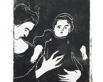 woodblock print mother and child / figurative art / black and white prints / woodcut print / contemporary printmaking by Michelle Farro