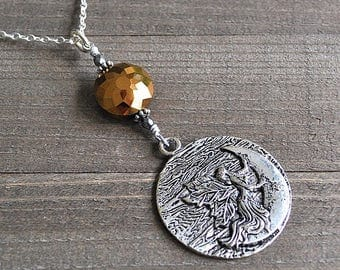 ON SALE Drawing Down The Moon Large Fairy Necklace Faceted Crystal Fairy on Crescent Moon Celestial Charm Pagan Wiccan