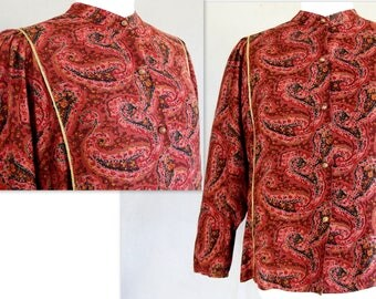 Boho Cropped Blouse, Vintage 1980's Three Quarter Batwing Sleeves, Brick Red Paisley Top by Carole Little, Fits Size Large