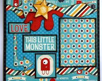 Double Page Scrapbooking Layout Love This LIttle Monster 12 x 12 2 Page Boy Layout