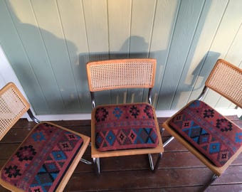 Three Vintage Chrome And Rattan MCM Upholstered Chairs