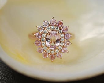 Sapphire engagement ring Oval Peach sapphire ring Diamond ring Rose gold ring engagement ring by Eidelprecious