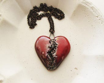 On the Mend Raku Heart Necklace
