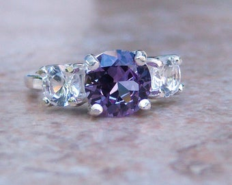 Lab Created Color Change Sapphire with Lab White Sapphires, Sterling Silver Ring, Cavalier Creations