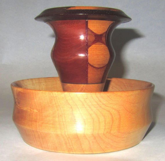 "Solid and Segmented Wood Turned Bowl – ""95-9"" – Unusual Design for Creative Uses"