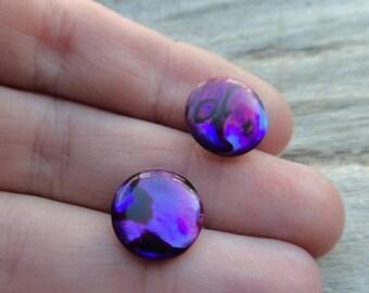 ON SALE Purple Paua Shell Post Stud Earrings, Abalone Dyed Shell Purple Earrings, Stud Post Earrings Jewelry