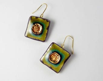Ceramic earrings, multicolours square with gold.