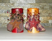 LED Flame less 6 Inch Primitive Textured TIMER PILLAR Candles, Battery Operated, Choice of Color