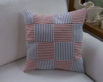 Quilted Ticking Pillow Handmade Nautical Pillow Beach Cottage Decot Red White Blue Ticking Decorative Pillow
