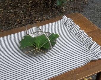 Ruffled Table Runner Tabletop Runner Ticking or Linen French Country Farmhouse Linens Custom Sizes