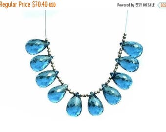 Sale 45% off 5 Matched Pair 10 Pieces of AAA London Blue Quartz Faceted Tear Drop Briolettes 16x10mm - 10x14mm approx