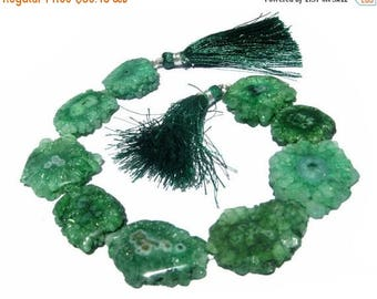50% Off Sale 8 Inches - Green Solar Quartz Stalactite Slice Briolettes Size 22 - 24mm Approx