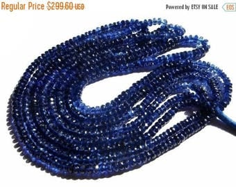 50% Off Sale AAA Genuine Deep Inky Blue Kyanite Micro Faceted Rondelles Size 3-5mm Approx Length 15 Inches