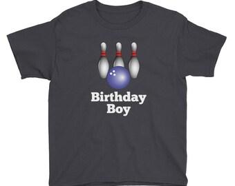 Boy's Bowling Birthday Party Kids Short Sleeve T-Shirt