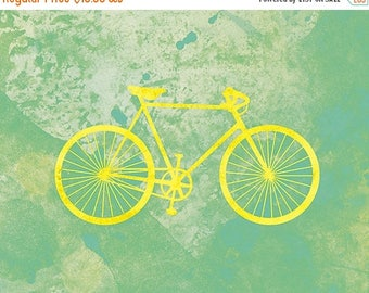 50% Off Summer Sale - Bicycle Art Print (yellow and green) - 8x10 Modern bike wall art