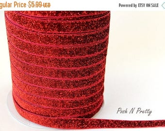 20% OFF EXP 06/30 5/8 Glitter Stretch Velvet Elastic 5 YARDS - No Flake - Red