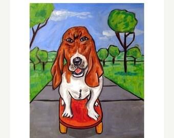 20 % off storewide Basset Hound Riding a Skateboard Dog Art Print