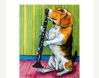 20% off storewide Beagle Playing the Clarinet Dog Art Print
