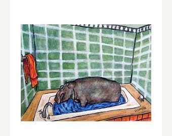 20% off storewide Hippopotamus Taking a Bath Hippo Art Print