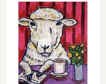 20% off Sheep at the Coffee Shop Art Print