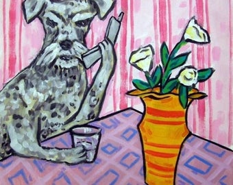 20% off schnauzer, TILE, dog, dog art, art, schnauzer tile, gift, modern folk art, schnauzer art