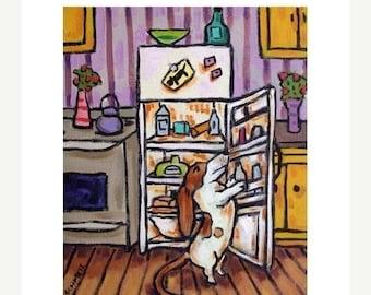 Basset Hound plündern den Kühlschrank Hund Kunstdruck