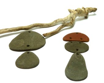 Beach Pebbles COMPONENTS Stone Pendants Connector Rocks Totem Dangles Focal Jewelry Link Beads Eco Organic Brown Flats