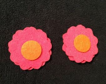 Pink and Orange Felt Flowers