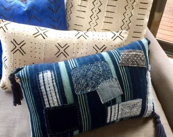 "African Mudcloth  pillow cushion cover 60cmx35cm (24""x14"") indigo blue stripes patched boro style"