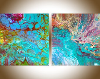 Fluid art Acrylic fluid painting Abstract art abstract painting original art wall art wall decor wall hanging by qiqigallery