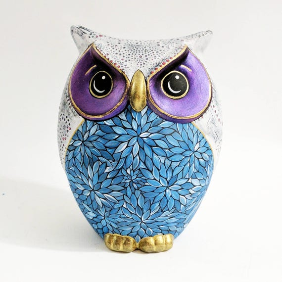 Owl Coin Bank:Hand Painted Colorful Owl Coin Bank Piggy Bank blue white purple ooak owl