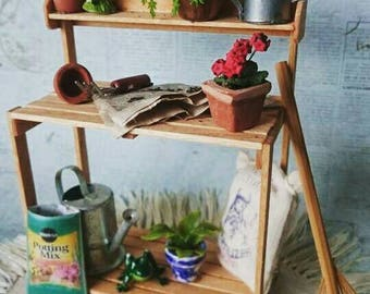 Miniature garden potting table dollhouse scale