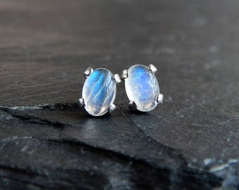 Moonstone Cabochon Earrings: Sterling silver posts, natural rainbow moonstones with blue flash, 6x4mm oval domes, tiny studs, minimalist