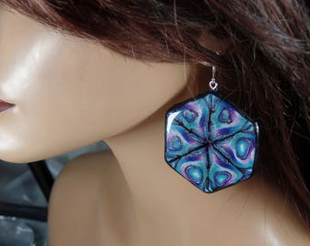 Polymer clay earrings, turquoise, violet