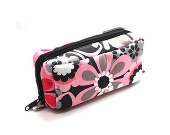 Summer Clearance Essential Oil Case Holds 10 Bottles Essential Oil Bag Pink and Gray Large Flowers