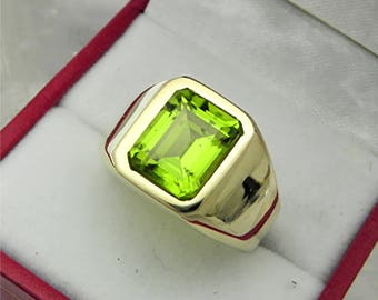 AAAA Peridot 10x8mm  4.02 Carats   Heavy 14K Yellow gold Emerald cut Mans ring 15-16 grams 1735