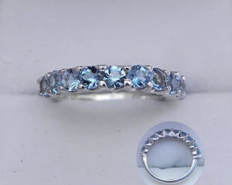 AAAA Blue Aquamarine from the Santa Maria Mine  Half Eternity band   2.6mm Rounds in 14K white gold