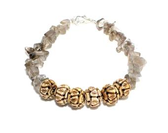 Carved bone and smoky quartz chip stone beaded stacking bracelet