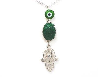 Hamsa hand of Fatima evil eye scarab silver layer necklace