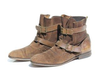 Vintage Brown Swede Slip on Ankle Strap Boots / size 8.5