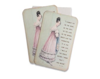 Jane Austen Notecard, Pride and Prejudice Quote, Cottage Chic Thank You Note cards, Bridal Shower Thank you card, Heavy Card Stock