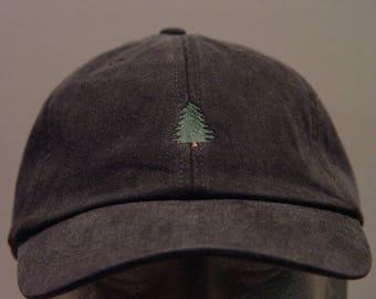 EVERGREEN PINE TREE Hat - One Embroidered Wildlife Cap - Price Embroidery Apparel - 24 Color Caps Available
