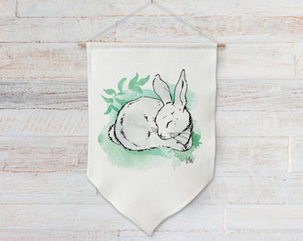 Nursery wall art banner of a woodland animal in watercolor for baby girl or boy room decor, kids gift - Sleeping Bunny Rabbit #4