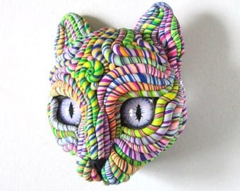 Cosmic Cat Mask Wall Sculpture