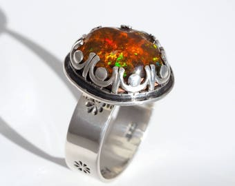 Mexican Fire Opal Ring - Sterling Silver Fire Opal ring - floral opal ring - US 7.75 - silver Mexican Boulder Opal ring with flowers - 7 3/4