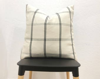 The Koda Cream & black plaid woven pillow cover
