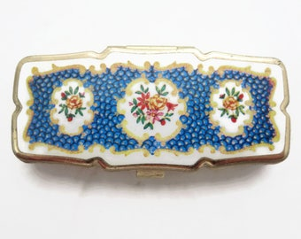 Pill Box - Three Sectioned Floral Design Blue White Pill Case