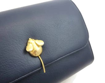 Navy Blue Handbag Purse - Gold Mouse Clasp Pappagallo Faux Leather