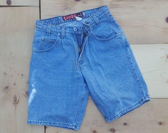"""Vintage Denim Shorts  /  Vtg 90s LEVI'S Silver Tab Made in the USA Loose Fit Distressed Stone Wash Denim Shorts w/ Bleach Spots  / 31"""" waist"""
