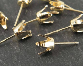 PAIR Gold Filled 6mm Snap Setting Ear Post (CG9272)